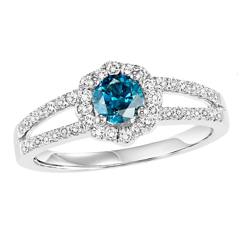 Colored Stone Halo Split Shank Engagement Ring - Michael E. Minden Diamond Jewelers
