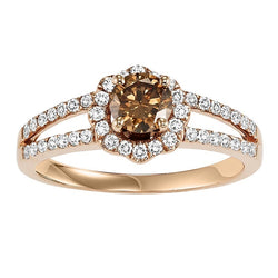 Chocolate Diamond Halo Split Shank Engagement Ring - Michael E. Minden Diamond Jewelers