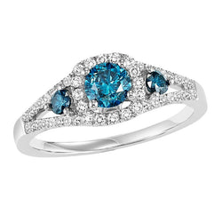 Colored Engagement Ring with Colored Side Stones - Michael E. Minden Diamond Jewelers