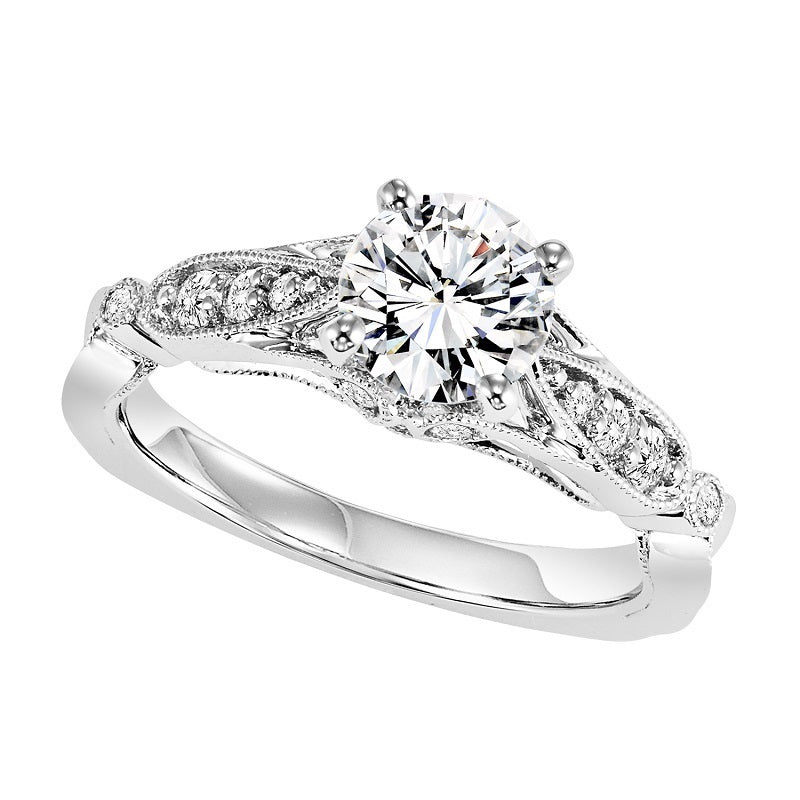 Round Cut Migrain Detailed Engagement Ring - Michael E. Minden Diamond Jewelers