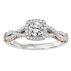 Round Cut Square Halo Two-Tone UnderGallery Engagement Ring - Michael E. Minden Diamond Jewelers