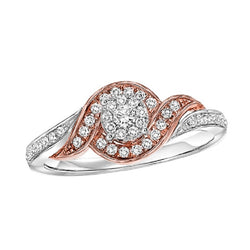 Round Two-Tone Wrapped Halo Engagement Ring - Michael E. Minden Diamond Jewelers