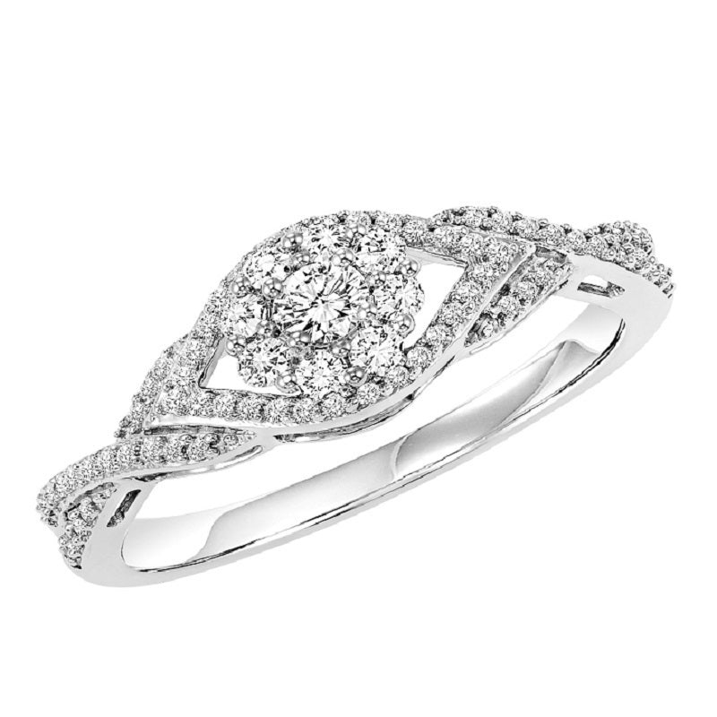 Round Cut Wide Set Halo Engagement Ring - Michael E. Minden Diamond Jewelers