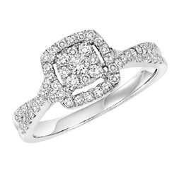 Square Halo Twisted Set Engagement Ring - Michael E. Minden Diamond Jewelers