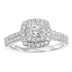 Square Halo Two-Row Engagement Ring - Michael E. Minden Diamond Jewelers