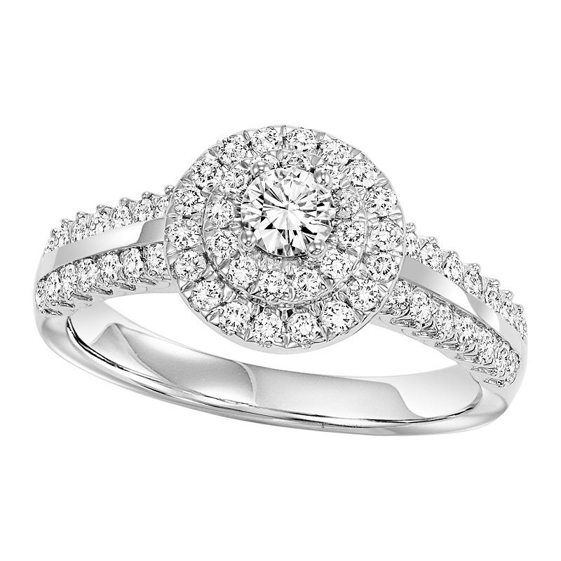Round Halo Gold and Diamond Set Engagement Ring - Michael E. Minden Diamond Jewelers