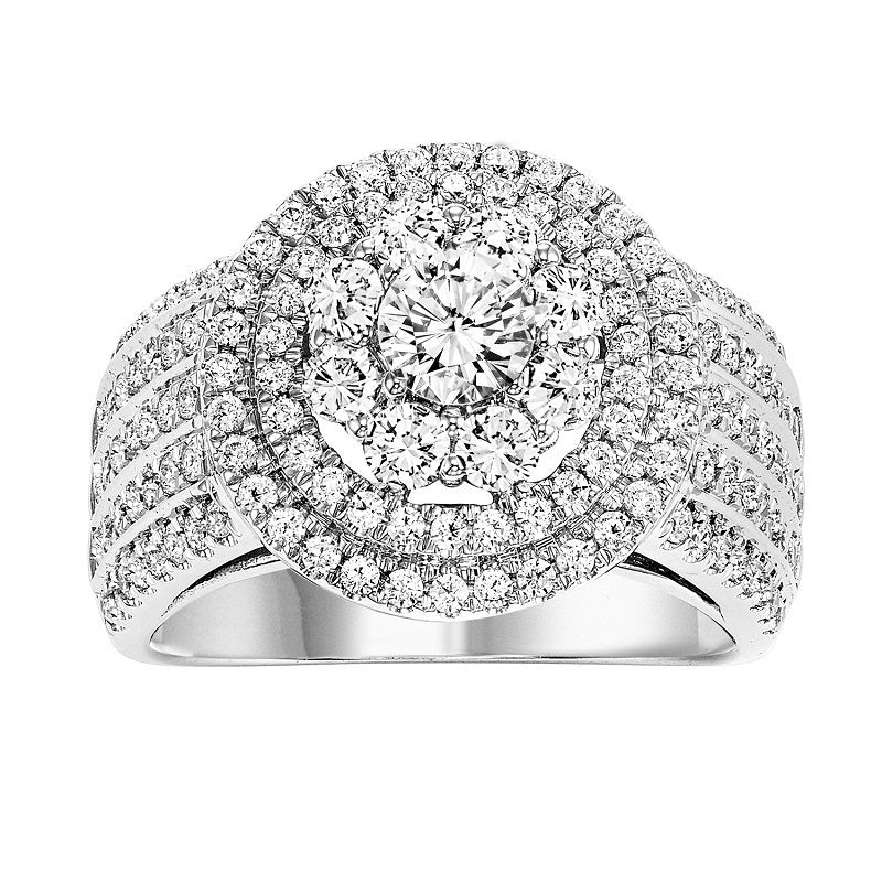Round Triple Halo Multi Row Engagement Ring - Michael E. Minden Diamond Jewelers