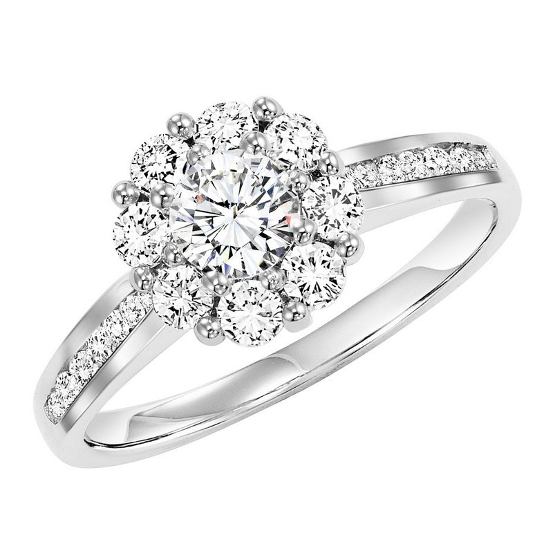Accented Round Halo Engagement Ring - Michael E. Minden Diamond Jewelers