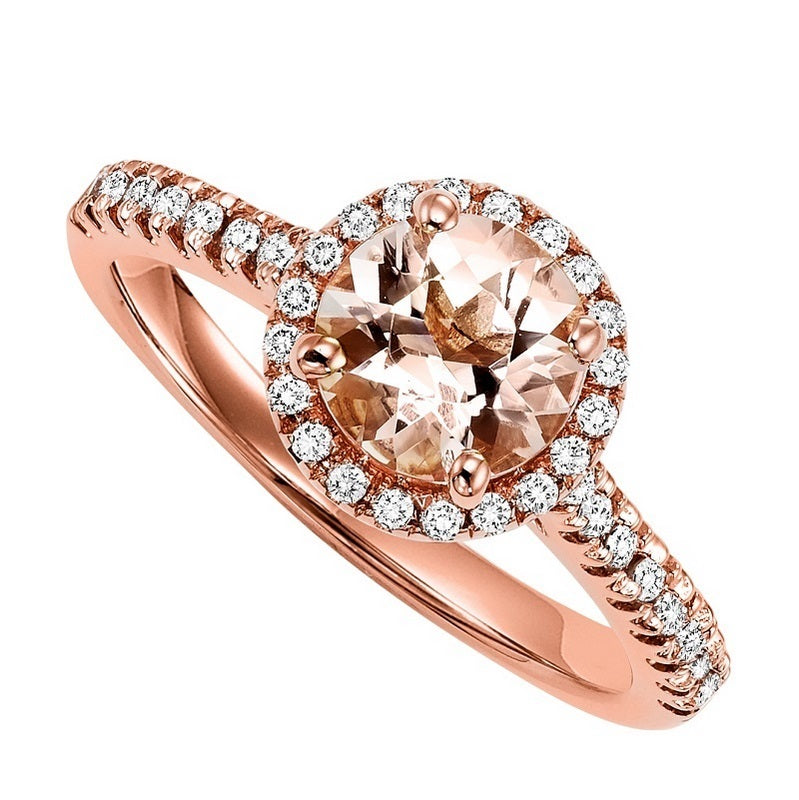 Rose Gold Round Halo Morganite Semi-Mount Engagement Ring - Michael E. Minden Diamond Jewelers