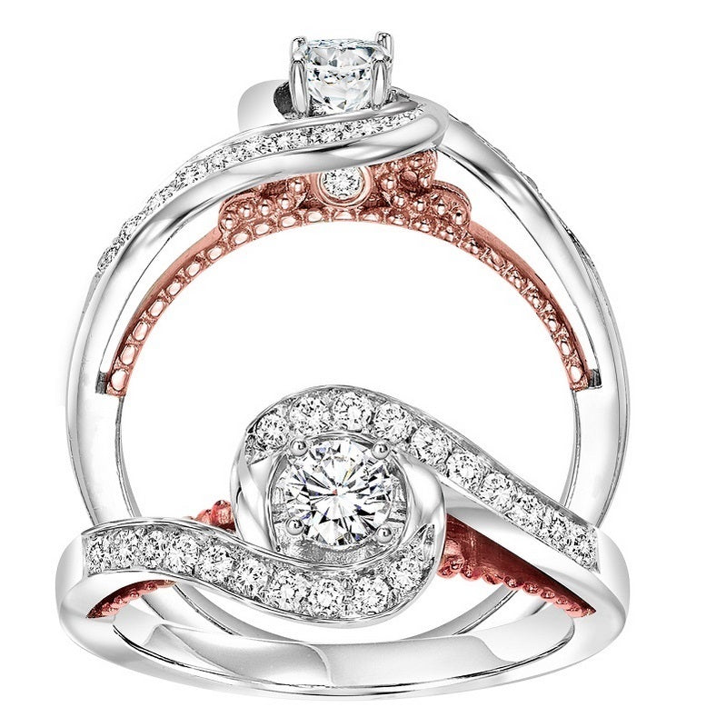Round Wrapped Halo Two-Tone UnderGallery Engagement Ring - Michael E. Minden Diamond Jewelers