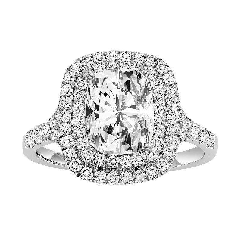 Cushion Cut Double Halo Engagement Ring - Michael E. Minden Diamond Jewelers