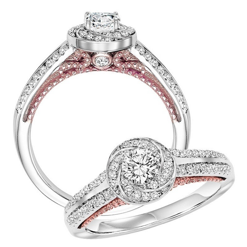 Round Swirl Halo Two-Tone UnderGallery Engagement Ring - Michael E. Minden Diamond Jewelers
