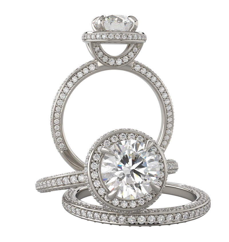 White Gold Round Diamond Wedding Set with Diamond Under Gallery - Michael E. Minden Diamond Jewelers