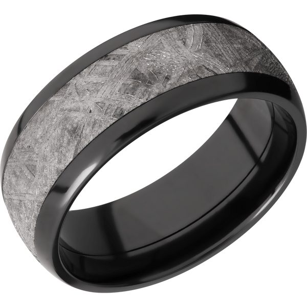 Zirconium with Meteorite Men's Wedding Ring