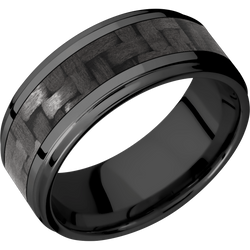 Zirconium Wedding Ring with Carbon Fiber Inlay - Michael E. Minden Diamond Jewelers