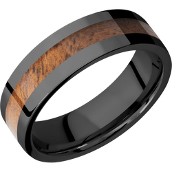 Zirconium Men's Weddings Ring with Koa Inlay - Michael E. Minden Diamond Jewelers