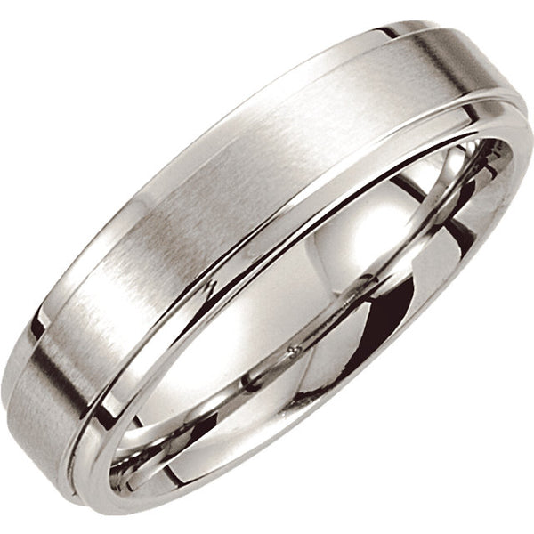 Cobalt Comfort Fit Ridged Men's Wedding Ring - Michael E. Minden Diamond Jewelers