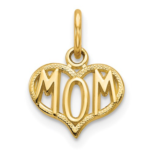 "14K ""Mom"" Heart Pendant - Michael E. Minden Diamond Jewelers"