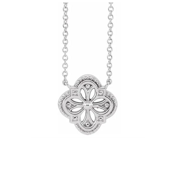 14K Vintage-Inspired Clover Necklace - Michael E. Minden Diamond Jewelers