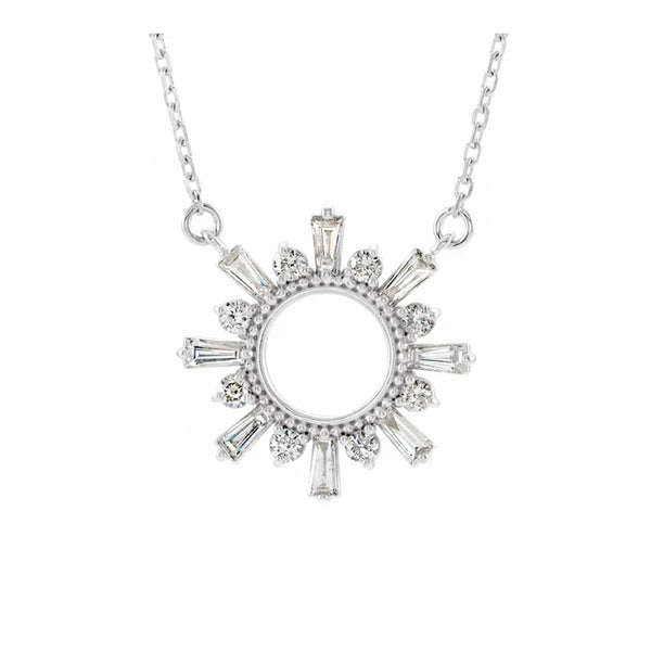 14K Circle Burst Diamond Necklace - Michael E. Minden Diamond Jewelers