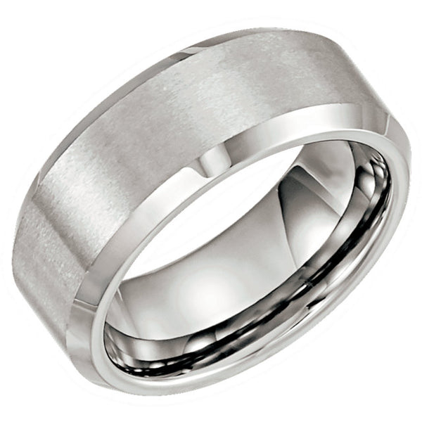 Tungsten Beveled Men's Wedding Ring - Michael E. Minden Diamond Jewelers