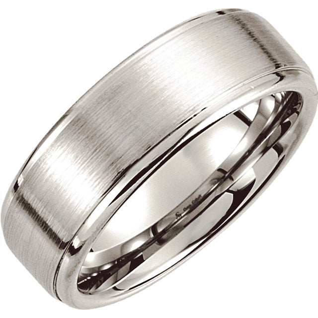 Cobalt Satin Ridged Men's Wedding Ring - Michael E. Minden Diamond Jewelers