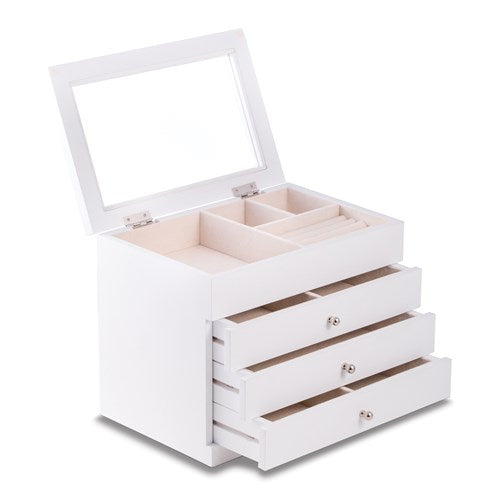 White Wood Finish Three Drawer Jewelry Box - Michael E. Minden Diamond Jewelers