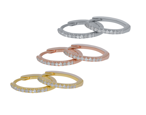 14K Delicate Diamond Huggie Hoops - Michael E. Minden Diamond Jewelers