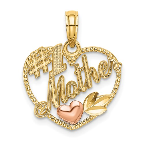 "14K Two-Tone ""#1 Mother"" Pendant - Michael E. Minden Diamond Jewelers"