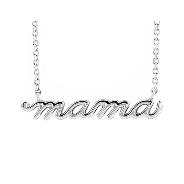 14K Petite Mama Script Necklace - Michael E. Minden Diamond Jewelers
