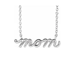 14K Petite Mom Script Necklace - Michael E. Minden Diamond Jewelers