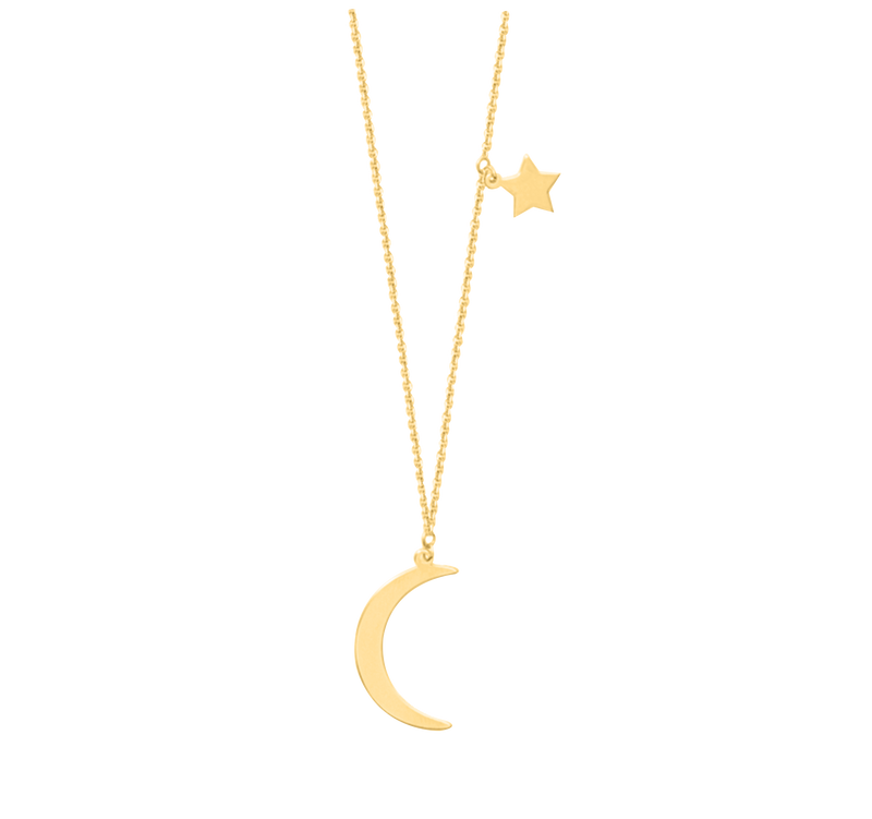 Moon & Star Dangle Necklace - Michael E. Minden Diamond Jewelers