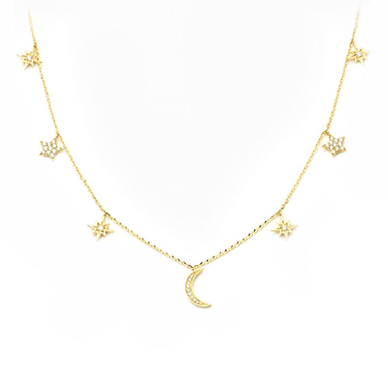 14k Diamond Moon and Stars Necklace