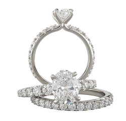 White Gold Oval Diamond Wedding Set - Michael E. Minden Diamond Jewelers