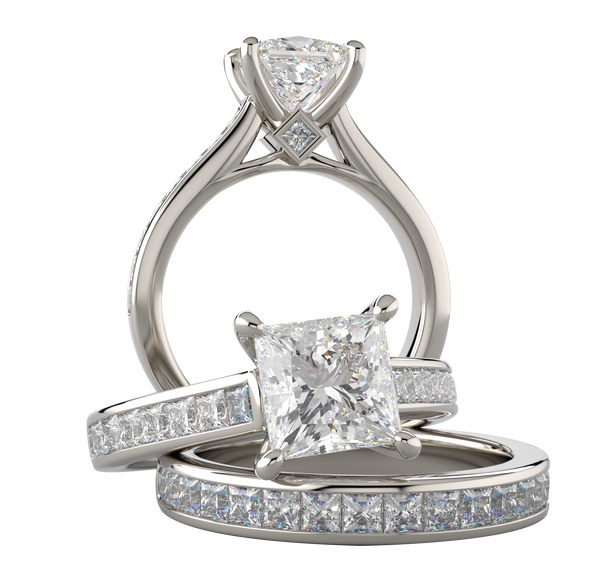 White Gold Princess Cut Wedding Ring Set - Michael E. Minden Diamond Jewelers