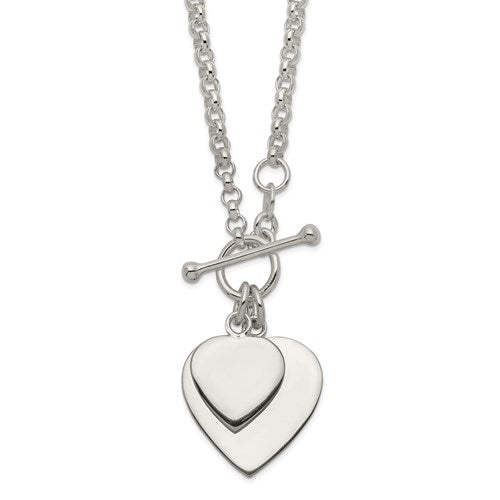 Double Heart Toggle Necklace - Michael E. Minden Diamond Jewelers