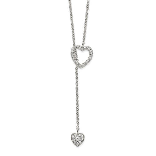 Sterling Silver CZ Heart Lariat Necklace - Michael E. Minden Diamond Jewelers