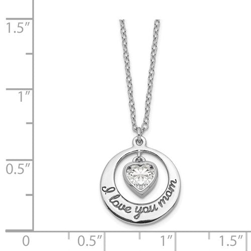 """I Love You Mom"" Heart Dangle Necklace - Michael E. Minden Diamond Jewelers"
