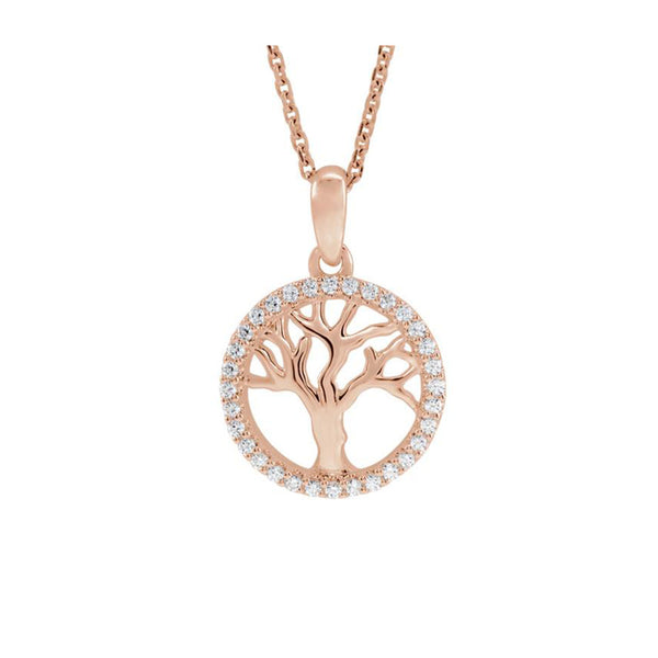 14K Petite Diamond Tree of Life Necklace - Michael E. Minden Diamond Jewelers