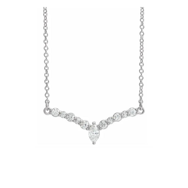 14K Petite Diamond V Necklace - Michael E. Minden Diamond Jewelers