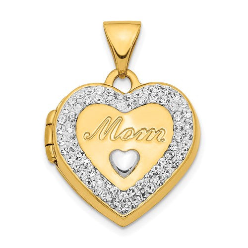 "14K Crystal ""Mom"" Heart Locket Pendant - Michael E. Minden Diamond Jewelers"