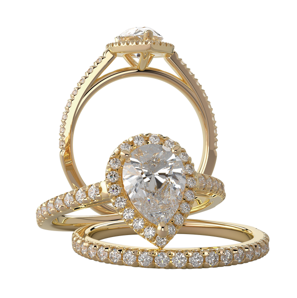 Yellow Gold Pear Halo Wedding Ring Set - Michael E. Minden Diamond Jewelers