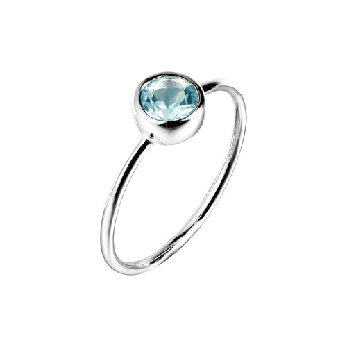 Sterling Silver 925 Natural Blue Topaz Ring