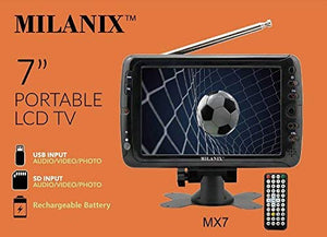 "Milanix MX7 7"" Portable Battery Powered Widescreen LCD Handheld TV with AC/DC, Detachable Antennas, USB/SD Card Slot, Built in Digital Tuner, and AV Inputs"