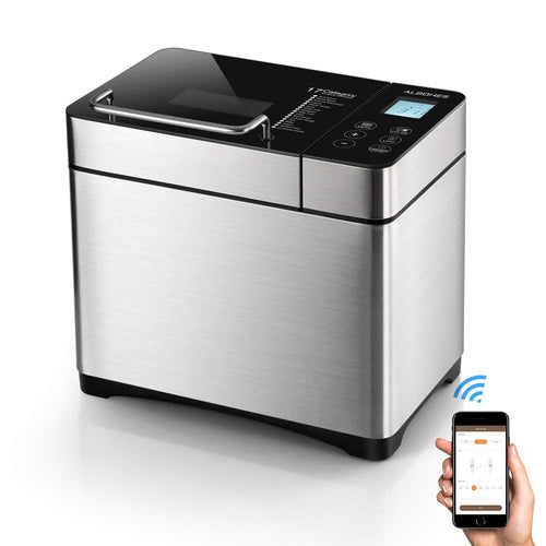 Bread Maker, ALBOHES 2.2LB Stainless Steel Bread Machines with Gluten Free Setting, Wi-Fi Connectivity, APP Control, Automatic Nut Dispenser, 17 Programmable Menu Settings, 3 Loaf Sizes 3 Crust Colors
