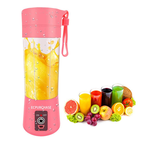Portable Blender USB Rechargeable, Small Blender Single Serve, Personal Size Blender Travel Blender Juicer Cup 380ml (FDA, BPA free) (Pink)