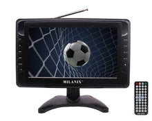 "Load image into Gallery viewer, Milanix MX9 9"" Portable Battery Powered Widescreen LCD Handheld TV with AC/DC, Detachable Antennas, USB/SD Card Slot, Built in Digital Tuner, and AV Inputs"