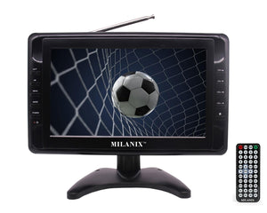 "Milanix MX9 9"" Portable Battery Powered Widescreen LCD Handheld TV with AC/DC, Detachable Antennas, USB/SD Card Slot, Built in Digital Tuner, and AV Inputs"