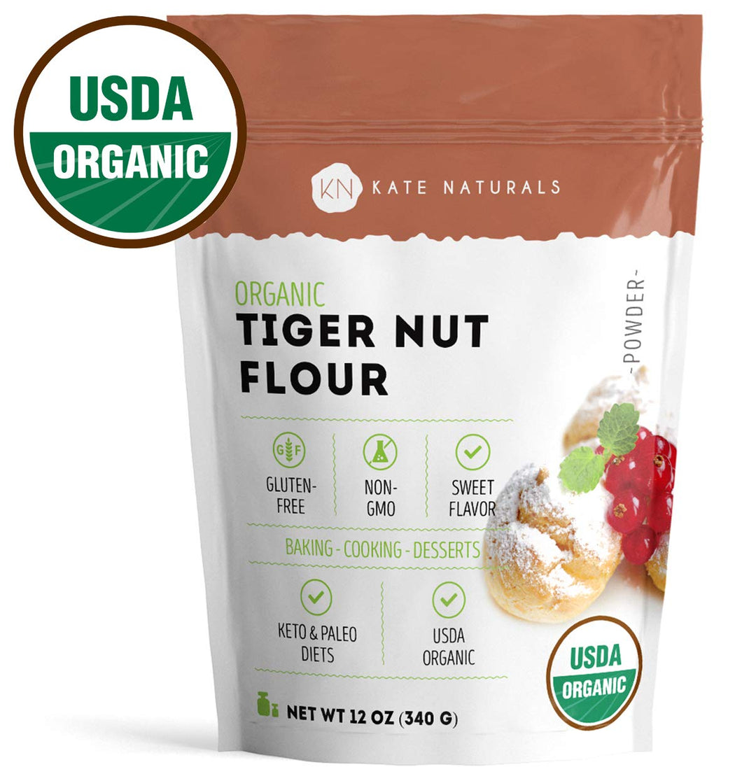 Organic Tiger Nut Flour - Kate Naturals. Perfect for Cookies, Baking. Sweet Flavor, Smooth Texture. Gluten-Free & Non-GMO. Large Resealable Bag. Paleo Friendly. 1-Year Guarantee (12oz)