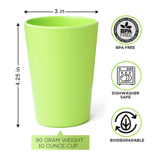 Eco-Friendly Bamboo Cups by Bamboosy - Set of 4 Reusable Bamboo Cups for Kids & Adults - Non-Toxic BPA-Free - Dishwasher Safe - Biodegradable - Perfect for Parties, Picnic, BBQ, Outdoor & Home Use